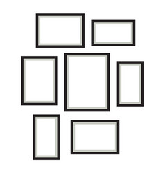 Photo frame template set hanging on wall vector