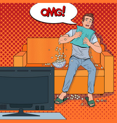 pop art man watching a horror movie at home vector image