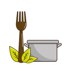 Pot kitchen with fork tool and leaves vector