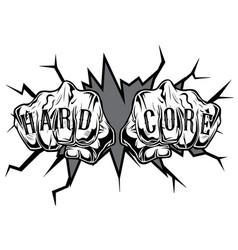 punching hand hard core tatoo vector image