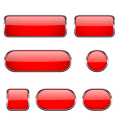 Red glass oval round square buttons with chrome vector