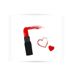 red lipstick with trace and heart vector image