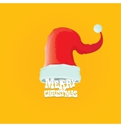 red Santa hat merry christmas card vector image