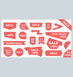 ribbons and banners sale price tags and discount vector image