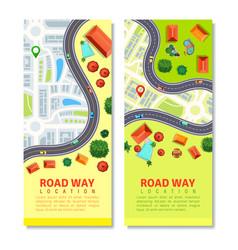 Roadway map vertical banners vector