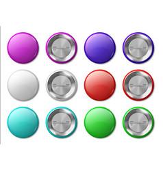 round badge mockup realistic metal labels design vector image