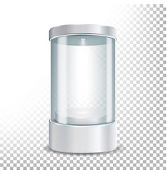 round empty glass showcase podium with spotlight vector image
