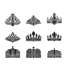 royal crowns with unusual design monochrome set vector image