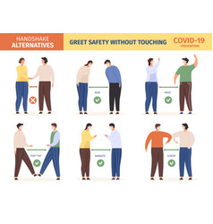 safe greeting people in masks keep social vector image