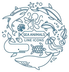 Sea animals line icons vector
