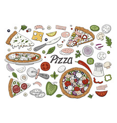 set of hand drawn italian pizza and vegetables vector image
