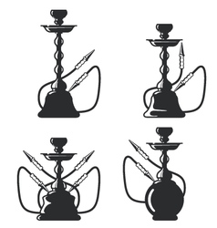 Set of hookah silhouettes on white vector