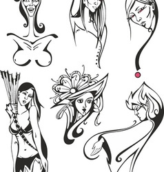 set of miscellaneous women and ladies vector image