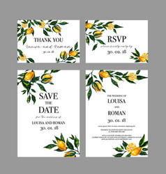 Set of wedding cards invitation with lemon vector