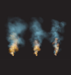 Set realistic smoke and fire shapes on a black vector
