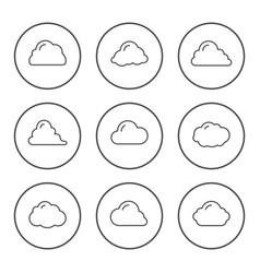 set round line icons cloud vector image