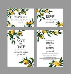 Set wedding cards invitation with lemon vector