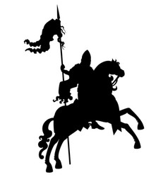 Silhouette banner-bearer on a horse vector