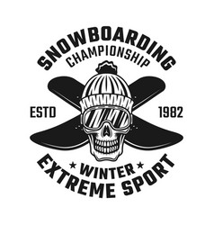 skull of snowboarder in knitted hat and two boards vector image