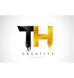 Th letter design with brush stroke and modern 3d vector