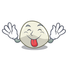 Tongue out mozzarella cheese isolated on mascot vector