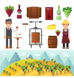 Vinery farm and vinery grape agriculture making vector