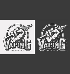Vintage vaping monochrome labels vector