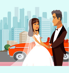 Wealthy just married newlyweds flat vector