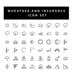 Weather and insurance icon set with black color vector