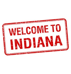 Welcome to Indiana red grunge square stamp vector