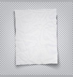 White crumpled sheet paper on a transparent vector