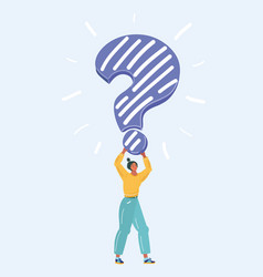 Woman hold question mark vector