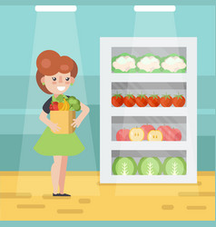 Woman in grocery store vector
