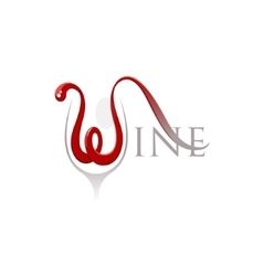 Word wine with letter w in a shape of the flowing vector