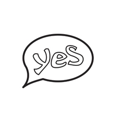 Word yes in bubble speech icon outline style vector image