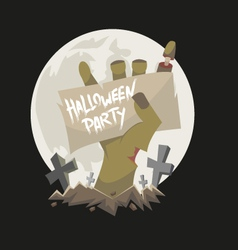 Zombie hand holding a banner vector