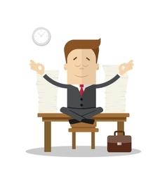 Cartoon businessman or manager meditating doing vector image