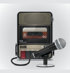cassette recorder and microphone vector image