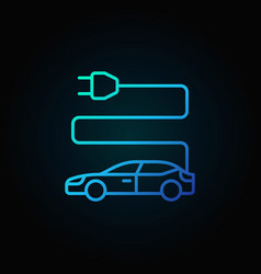 electric car blue icon in thin line style on dark vector image vector image
