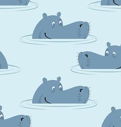 Hippo in water seamless pattern Good hippopotamus vector image vector image
