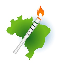 Sport flame torch over Brazil Rio vector image vector image