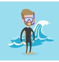 Young scuba diver vector image vector image
