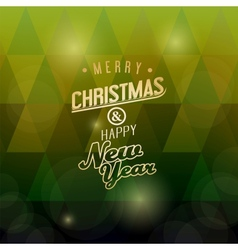 A Merry Christmas green triangular background vector image vector image