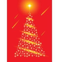 Abstract red christmas tree postcard vector image vector image