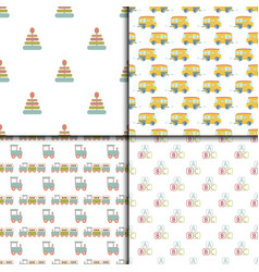 baby shower toys seamless pattern background vector image vector image