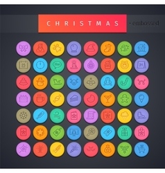 Christmas Round Embossed Icons Set vector image vector image