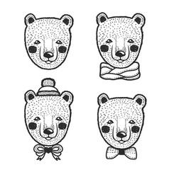 hand drawn cartoon bear head prints set vector image vector image