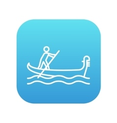 Sailor rowing boat line icon vector image vector image