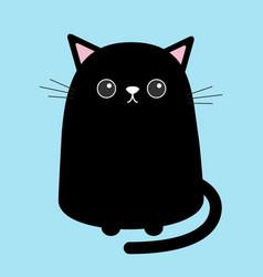 black cute cat sitting kitten cartoon kitty vector image vector image