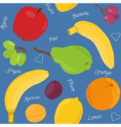 Cartoon fruit seamless pattern vector image